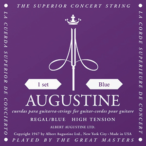 Augustine Regal Blue Classical Guitar Strings - High Tension Bass, Extra High Tension Trebles