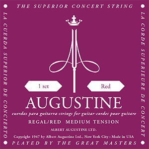 Augustine Regal Red Classical Guitar Strings - Medium Tension Bass, Medium Tension Trebles
