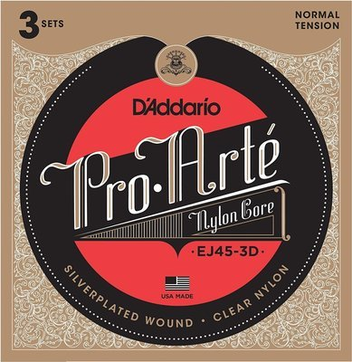 D'Addario EJ45-3D Pro-Arte Nylon Classical Guitar Strings - Normal Tension - 3 Sets