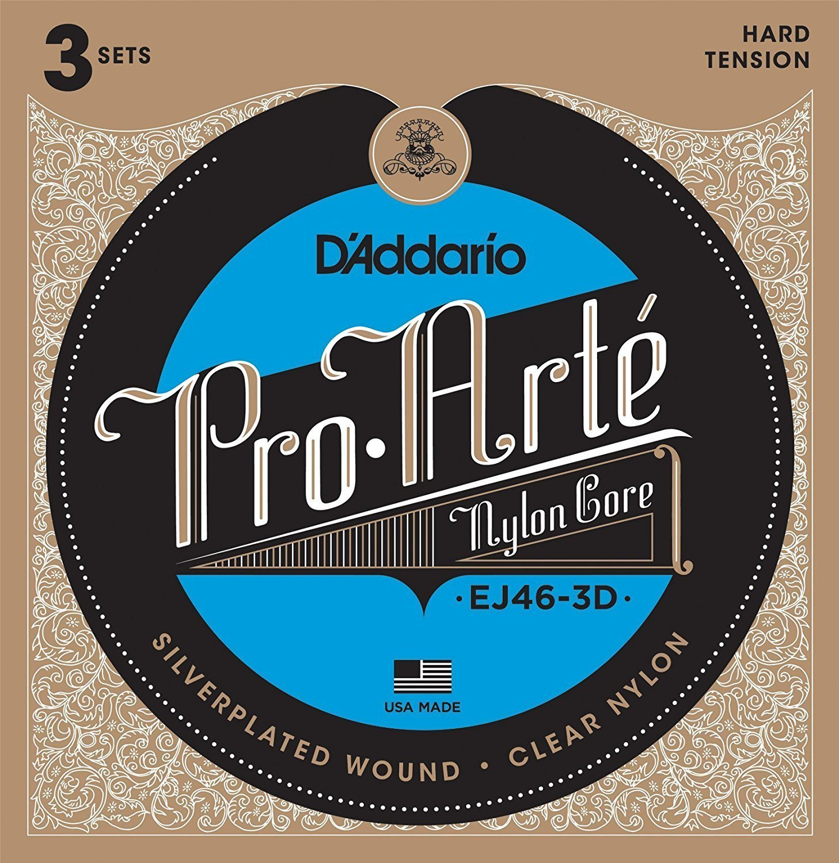 D'Addario EJ46-3D Pro-Arte Nylon Classical Guitar Strings - Hard Tension - 3 Sets