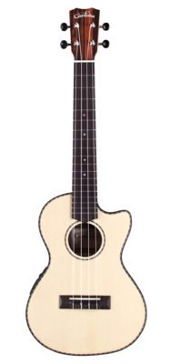 Cordoba 21T-CE Tenor Cutaway Acoustic Electric Ukulele - Solid Spruce Top, Striped Ebony Back/Sides