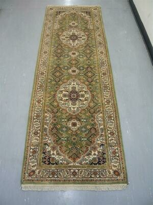 Indian Chakhari Runner 8' Green/Cream. Sold.