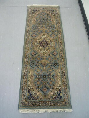 Indian Chakhari Runner 6' Lt Blue/Cream
