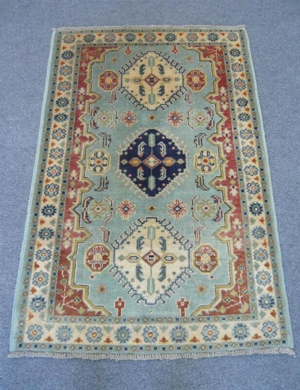 Afghan Rug Pale Blue Sold.