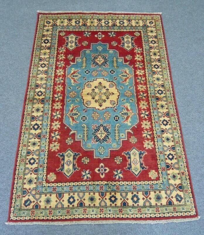 Afghan Rug Blue/Red Sold.