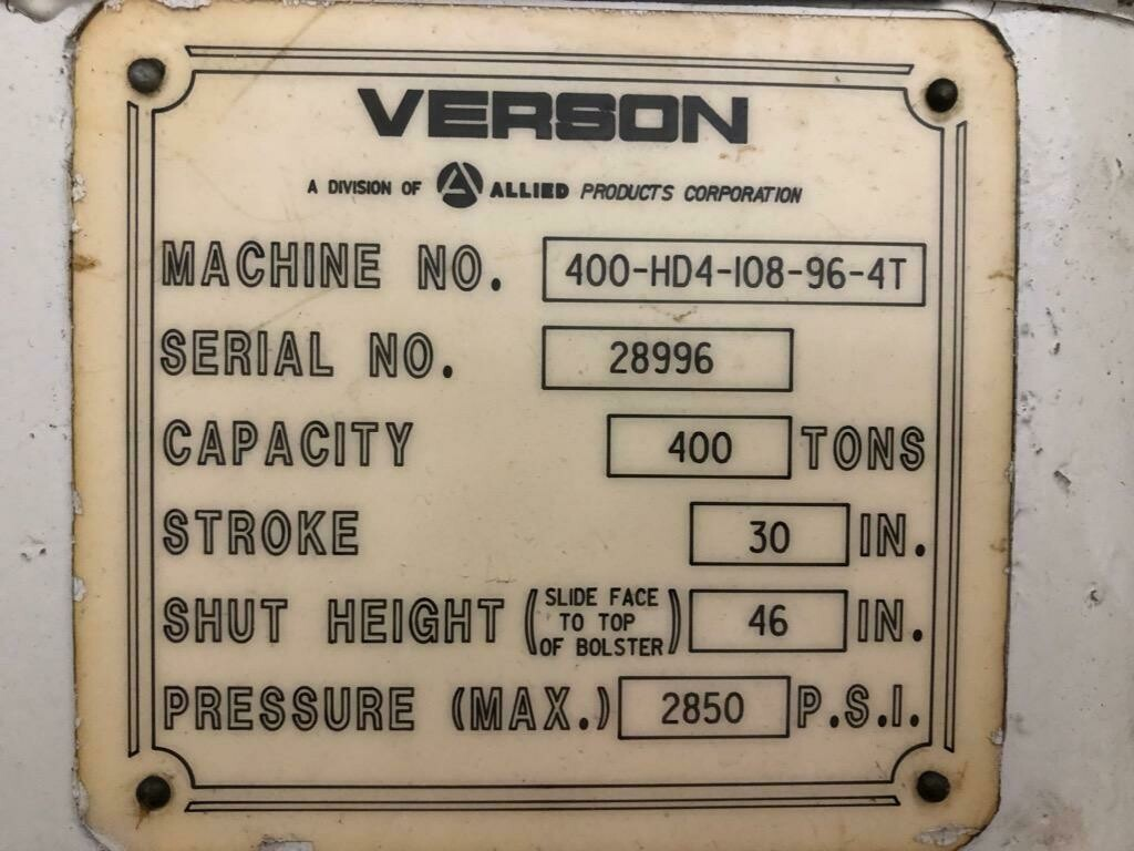 400 Ton Verson Down-Acting Hydraulic Press For Sale