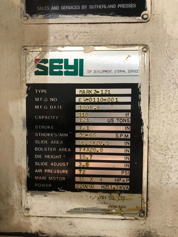 121 Ton Seyi Sutherland Gap Frame Press For Sale