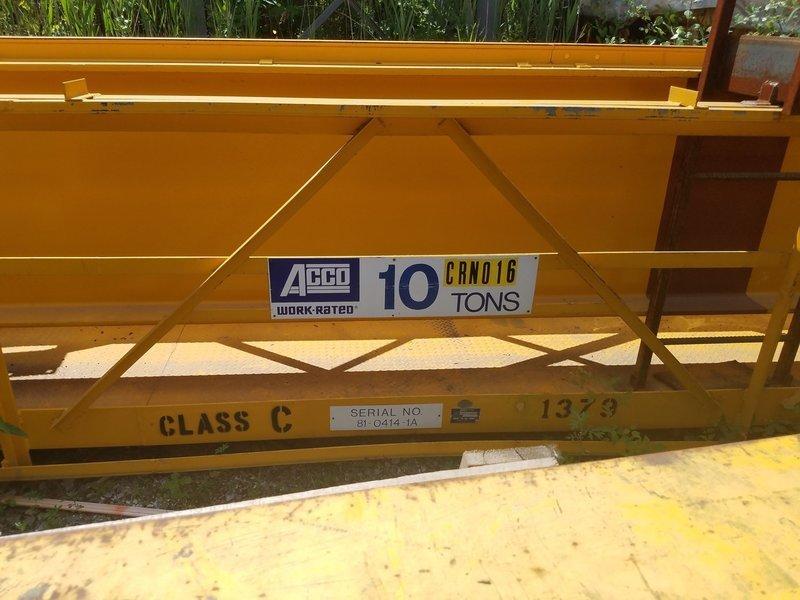 10 Ton Capacity Acco Overhead Bridge Crane For Sale