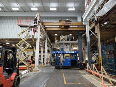 15 Ton Capacity Michigan Overhead Double Girder Bridge Crane and Rails For Sale
