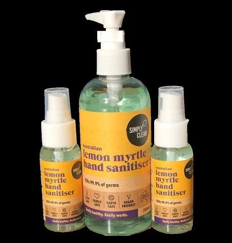 SC Lemon Myrtle Hand Sanitiser 250ml & 2 x 50ml Postage Aus Wide