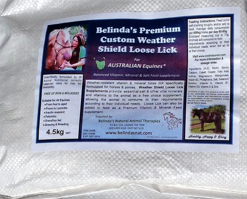 Belinda's Premium Weather Shield Loose Lick Supplement (Custom VIC, TAS, SA) 4.5kg bag INC POSTAGE AUS WIDE
