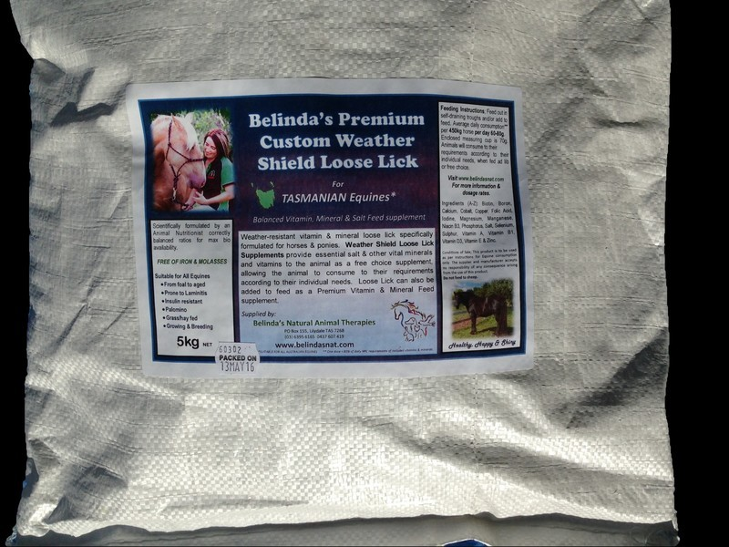 Belinda's Premium Custom Weather Shield Loose Lick Supplement - For TAS Equines, 5kg bag
