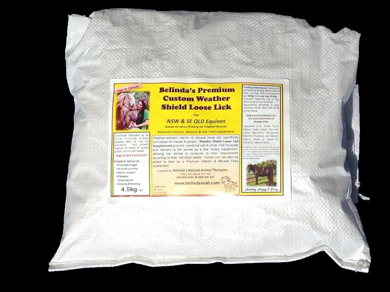 Belinda's Premium Custom Weather Shield Loose Lick Supplement -  (NSW & QLD) 4.5kg bag INC POSTAGE AUS WIDE