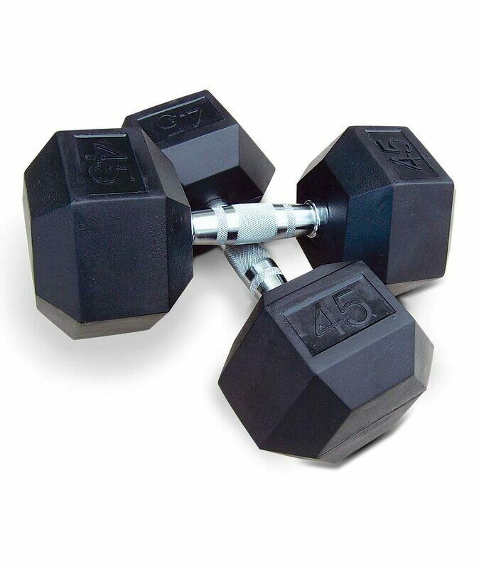 INTEK Strength Premium Rubber Cast Hex Dumbbell Set, 5 - 50 lb