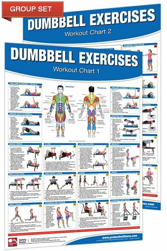 Dumbbell Workout Poster / Chart Set (2 poster set, 24x36 each)