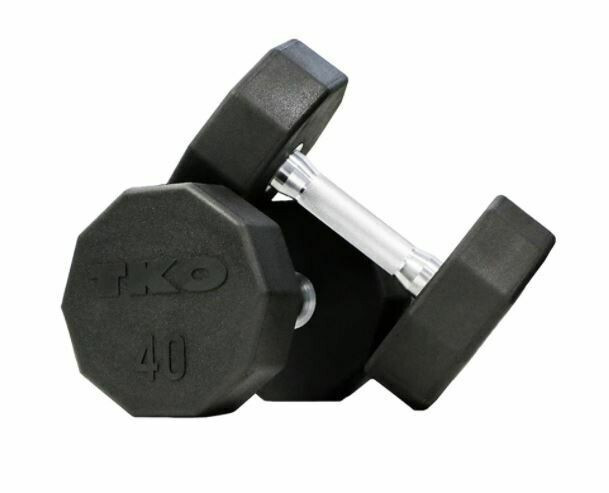TKO 10-Sided Rubber Dumbbell Set, 5 - 50 LB