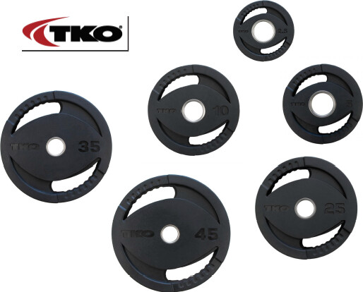 TKO Olympic Rubber Grip Plate Set, 255 LB