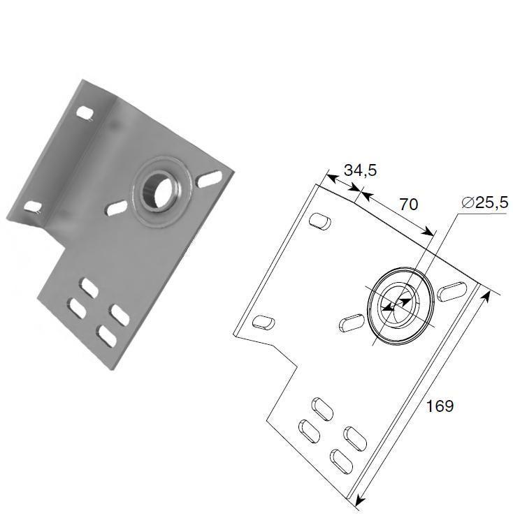 Концевой опорный кронштейн (70мм) (пара), арт.13014