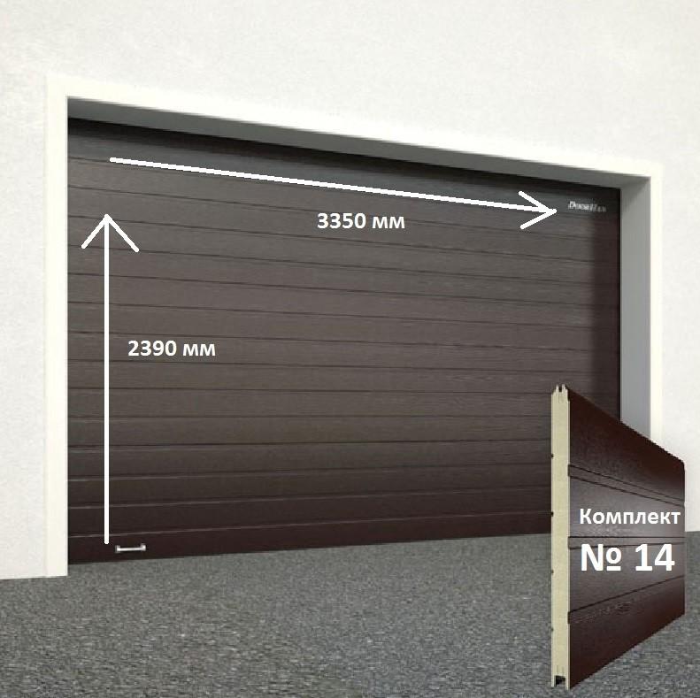 Ворота секционные серии RSD01SС №14 ширина 3350 высота 2390 доска, коричневые