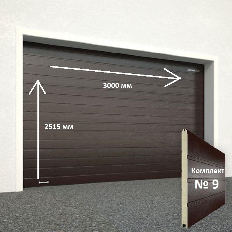 Ворота секционные серии RSD01SС №9 ширина 3000 высота 2515 доска, коричневые 8017