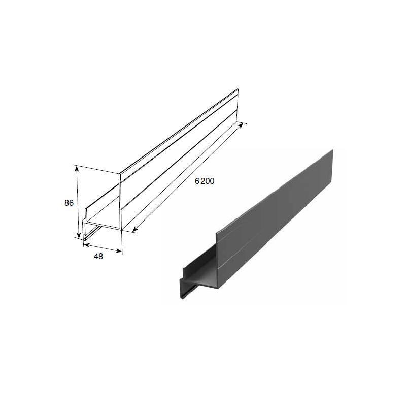 Алюминиевый профиль Ц-образный неравнополочный для полотна калитки