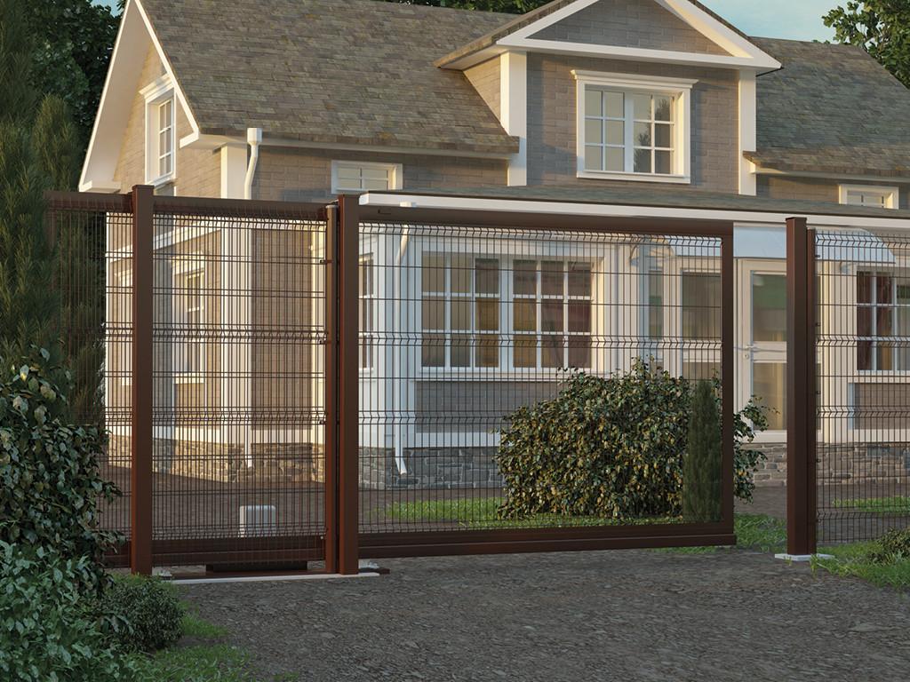 Откатные ворота с заполнением сварной сеткой 2000х2250