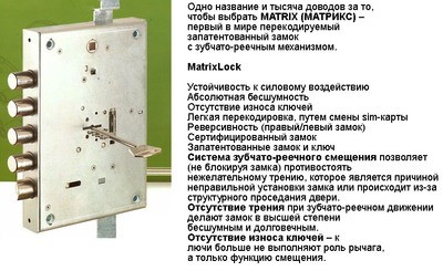 Врезной замок MUL-T-LOCK MATRIXсувальдный, перекодир.со сменной sim-картой