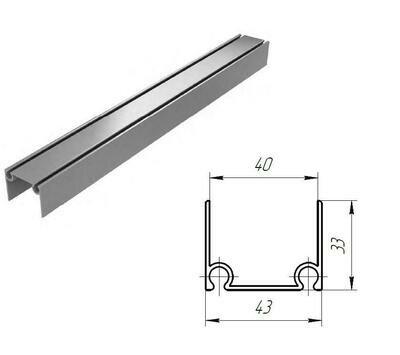 Алюминиевый верхний и нижний профиль металлик, 80041/M