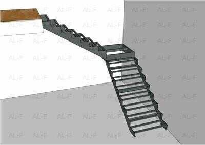 Каркас лестницы 90° с площадкой