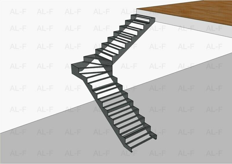 Каркас лестницы 90° с забежными ступенями