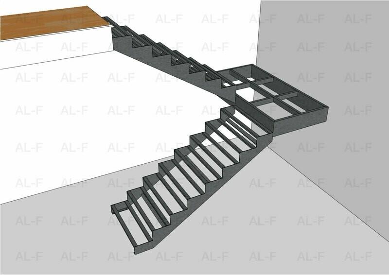 Каркас лестницы 180° с площадкой