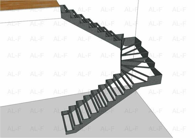 Каркас лестницы 180° с забежными ступенями