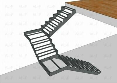 Каркас лестницы с тремя пролётами