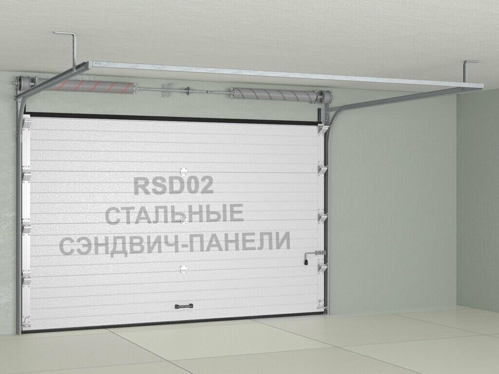 Ворота секционные (подъемные), гаражные Doorhan RSD02 из стальных сэндвич-панелей с торсионным механизмом