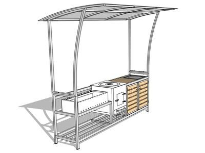 Мангал с крышей — комплекс AL-F BIG-MPD+ с мойкой, печкой и дверцами