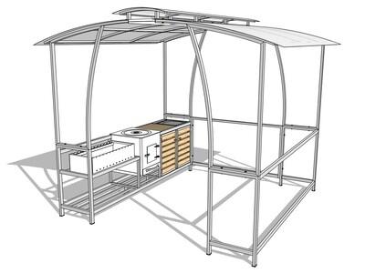 Мангал с крышей — комплекс AL-F BIG MPD-LUX с печкой, мойкой и дверцами