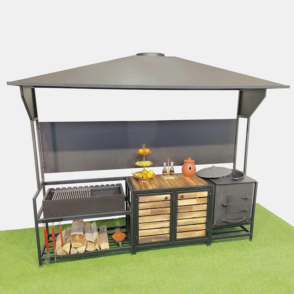Уличная кухня гриль AL-F V6 с печью под навесом