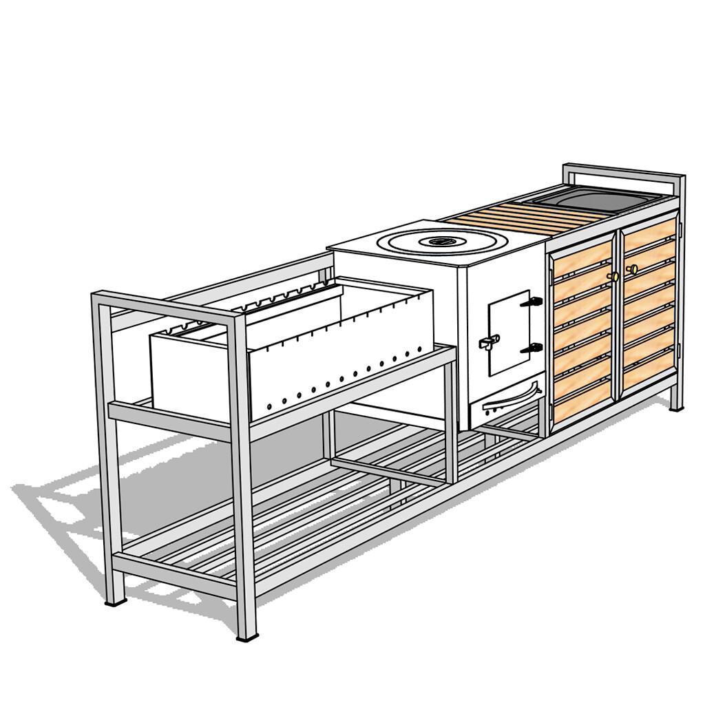 Мангальный комплекс AL-F BIG-MPD с печью, мойкой и дверцами