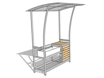 Мангал с крышей — комплекс AL-F Mini-D+ с дверцей