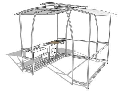 Мангал с крышей — комплекс AL-F BIG MP-LUX с печкой и мойкой