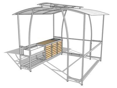 Мангал с крышей — комплекс AL-F BIG MD-LUX с мойкой и стеллажом