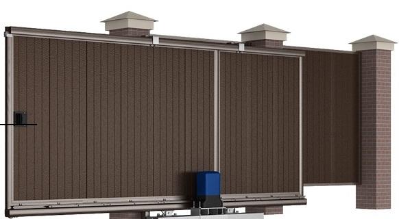 Сдвижные уличные ворота 3500х2100 коричневые