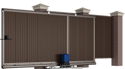 Сдвижные уличные ворота 5000х2500 коричневые