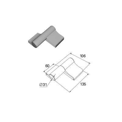 Петля двухсекционная серебристая (RAL9003) алюминиевая
