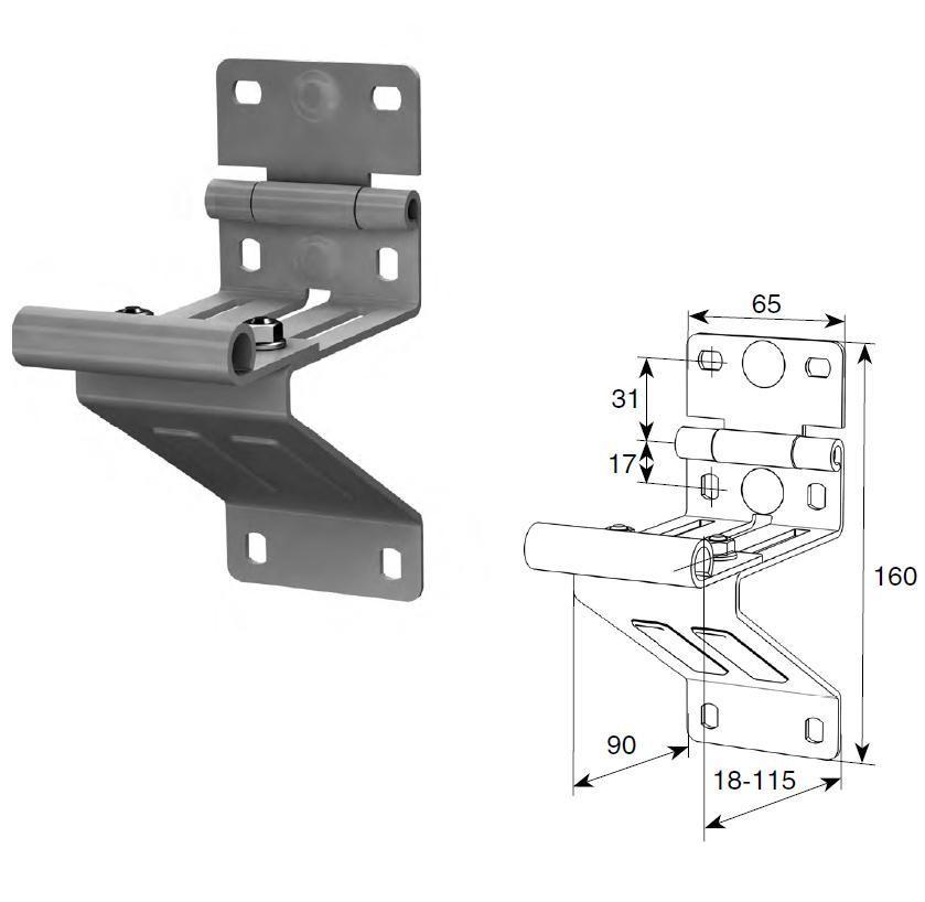 Боковая опора с удлиненным держателем ролика N25234-3/RAL9003