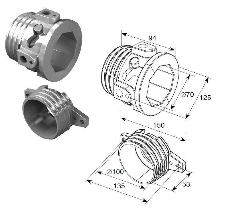 Окончание пружин для октагонального вала RV 70 DH12001OKT