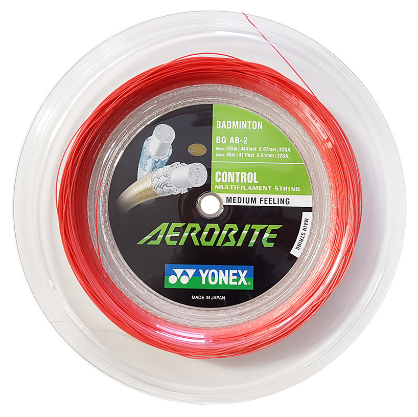 Yonex Aerobite Badminton String - 200m Reel - Red/White