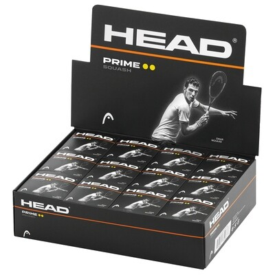 Head Prime Double Yellow Spot Squash Ball - Dozen