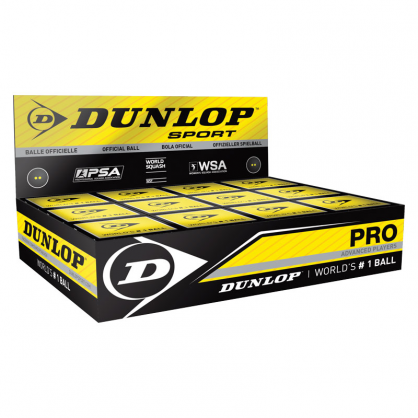 Dunlop Pro Squash Ball Double Yellow Dot - Dozen