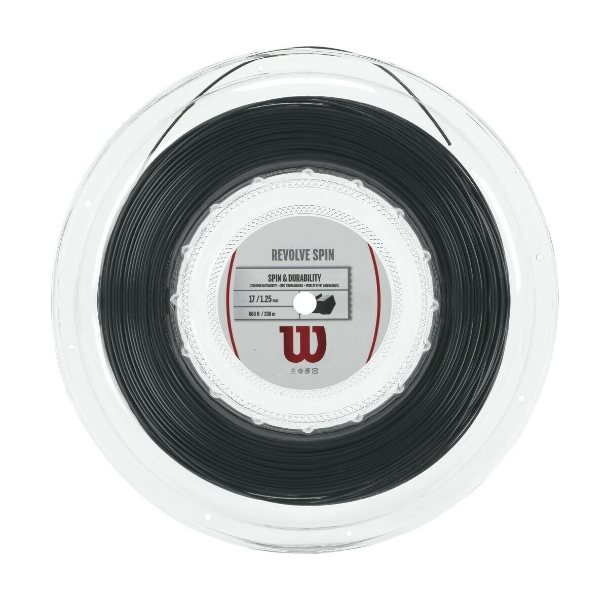 Wilson Revolve Spin 16 Tennis String 200m Reel - Black